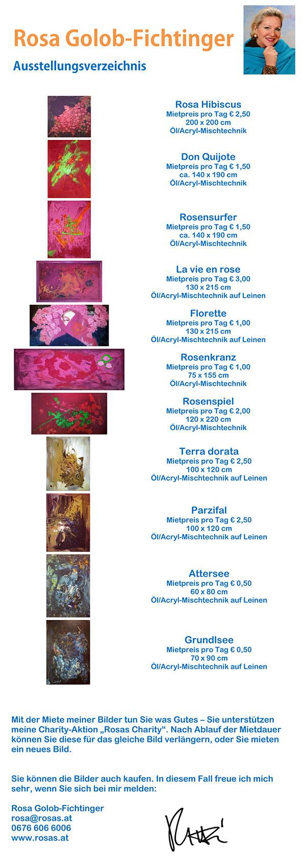 Rosas Charity - Ausstellungsverzeichnis Bilder im Landhaus St.Pölten